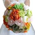 Красочные Свадебные Букет Ассорти Розы Камелии свадебные аксессуары букет Искусственный Свадебные цветы Букет невесты FE14