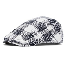 Hat male cap Men plaid casual cap male spring and summer ultra-thin breathable cotton hat for man
