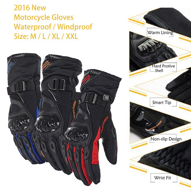 Prix pour 2016 Hiver En Plein Air Moto Gants Motocross Rue Off Tige Vélo Gants Écran Tactile Étanche Coupe-Vent gants moto