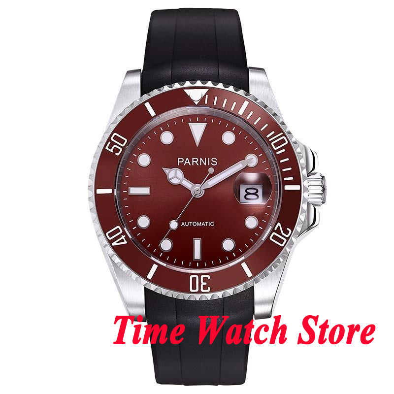 Parnis 40mm red dial luminous sapphire glass red ceramic bezel rubber strap MIYOTA Automatic movement watch 633