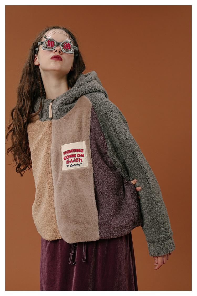 Vestes Chaud Color Femmes À Velours Manteaux Picture Capuche Parkas Hiver En 2018 Manteau Mode Patchwork De Coton Outwear Épais Courtes Veste Femelle qUvxU1n