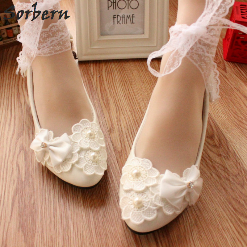 Sorbern White Bow Wedding Shoes Cute Kitten Heels Lace Up Ankle Straps  Flowers Bridal Shoes Pump 1dfbaa5da572