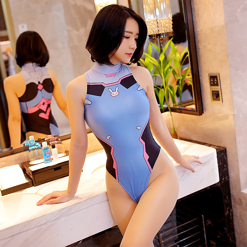 Women <font><b>Sexy</b></font> Anime Overwatch <font><b>DVA</b></font> Costume Through High Cut Bodysuit Swimsuit Underwear Sukumizu <font><b>Cosplay</b></font> Transparent Lingerie image