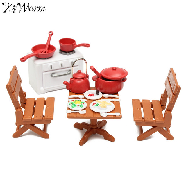 Kiwarm 1 Set Miniatures Kitchen Dining Furnitures Table Chairs With Cooking Tools Dolls Ornaments For Home