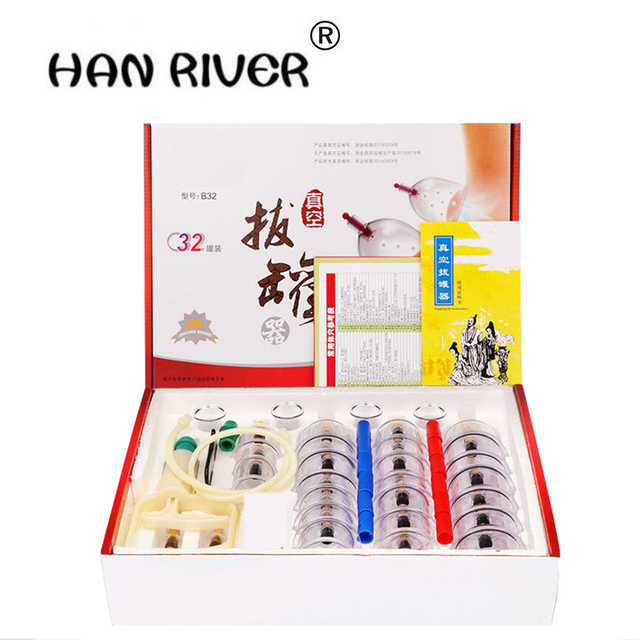 32Cans 12Cans  cups Chinese Vacuum Cupping Kit Pull Out A Vacuum Apparatus Therapy Relax Massagers Curve Suction Pumps