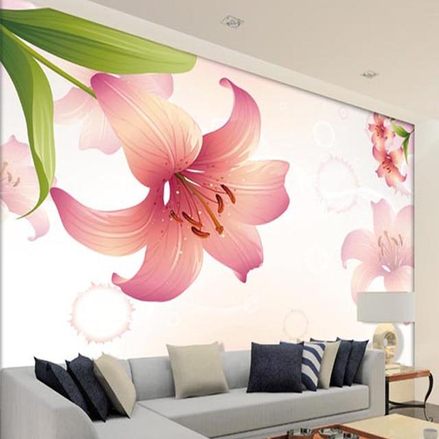 Hot Sale Custom Optional Materials 3D Lilium Flowers Wallpaper Wall Mural  Living Room Backdrop Fashion Wall Part 33
