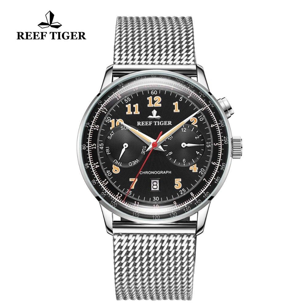 Recife Tigre/RT Clássico Pulseira de Relógio Do Vintage para Homens de Negócios de Aço Automático multi-funcional Relógios Relogio masculino 2019 RGA9122