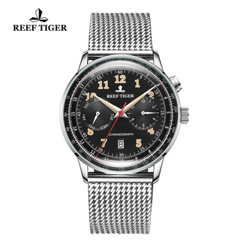 цена Reef Tiger/RT Classic Vintage Watch for Business Men Steel Bracelet functional Automatic Watches Relogio Masculino 2019 RGA9122 онлайн в 2017 году