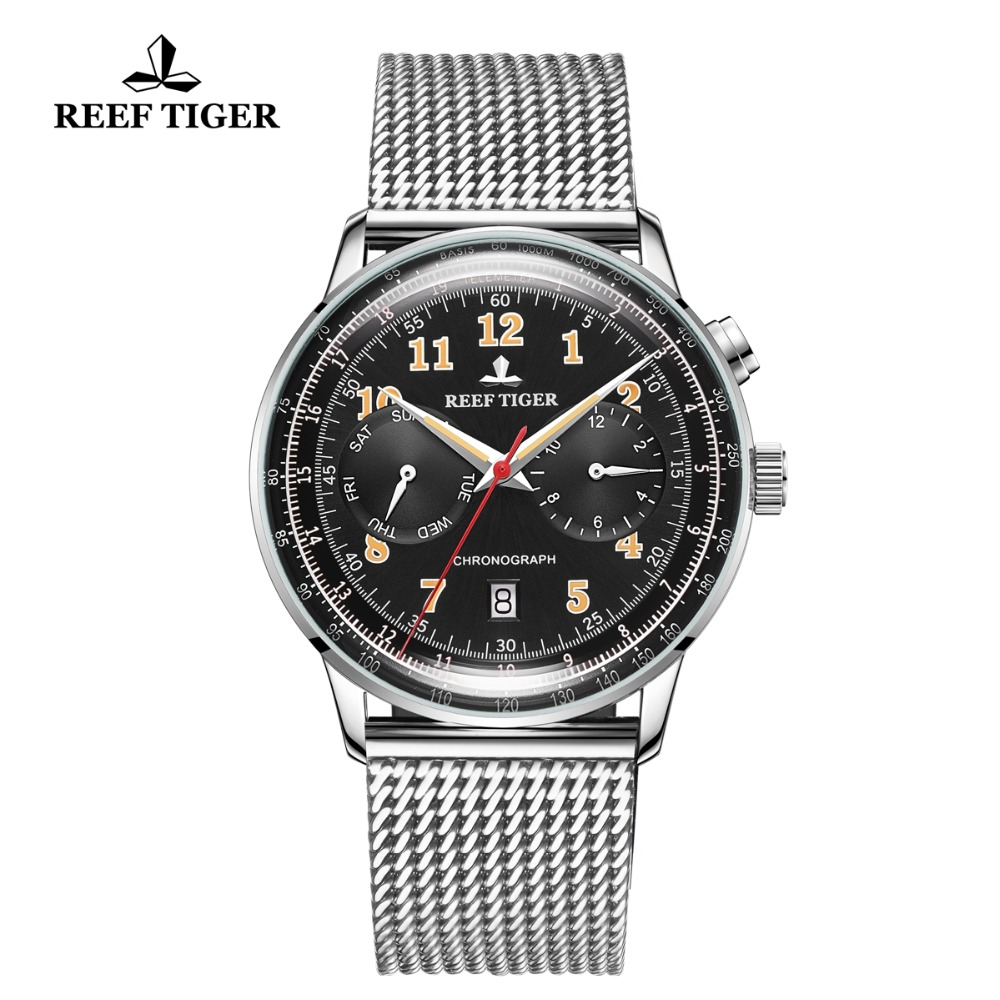 Reef Tiger/RT Classic Vintage Watch for Business Men Steel Bracelet functional Automatic Watches Relogio Masculino 2019 RGA9122