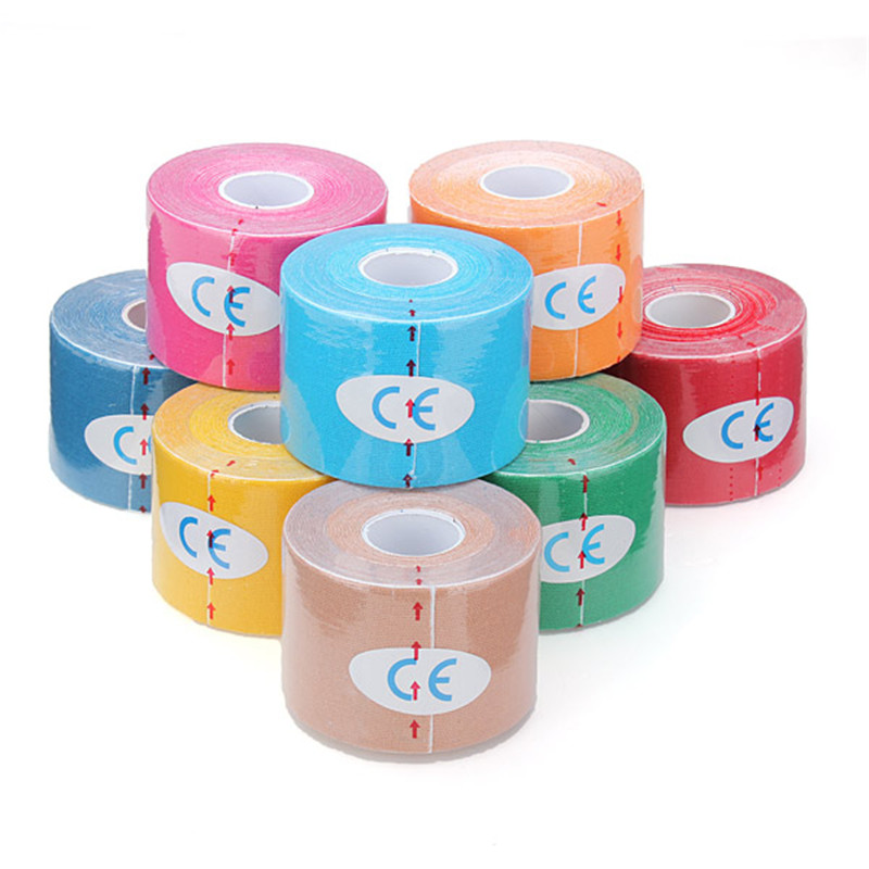 5M * 5CM Waterproof breathable Sports Safety Kinesiology Muscle Tape Care Fitness Athletic Health Cotton Elastic Adhesive Tape