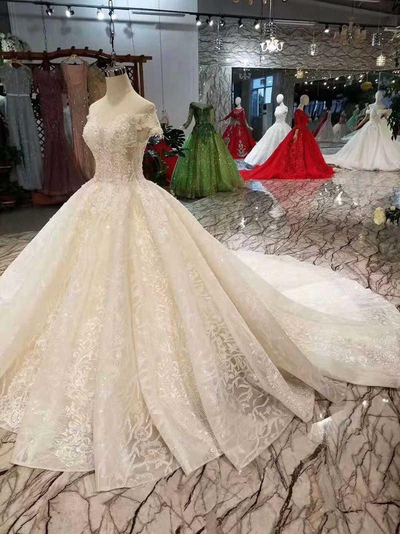 LSS139 простое свадебное платье Чистая новая аппликация с открытыми плечами очаровательный со шнуровкой блестящее свадебное платье с 100 см поезд последний дизайн