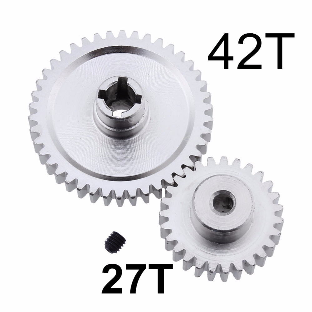 Metal Diff Main Gear 42T Spur Reduction + 27T Pinion Gear For 1/18 WLtoys A959-B A969-B A9