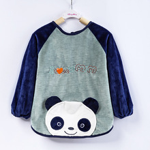 0-6T Panda Cartoon Warm Baby Bibs Waterproof Long Sleeve Baberos Bavoir Feeding Smock Burp Clothes Eat Children Kids Apron