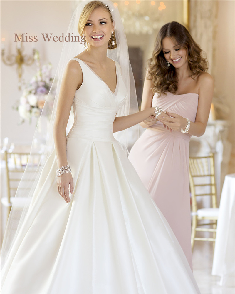 b5f9b9f697f2a3 Simple A-Line Satin Wedding Dresses Princess Style Elegant Organza Lined V  Neck Ruched Bodice Lovely Pleating Skirt Bridal Dress
