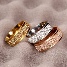 Rose Gold Famous Brand Zircon Ring New 8mm Half Circle Three Row Crystal 316L Stainless Steel finger Rings for women men(China)