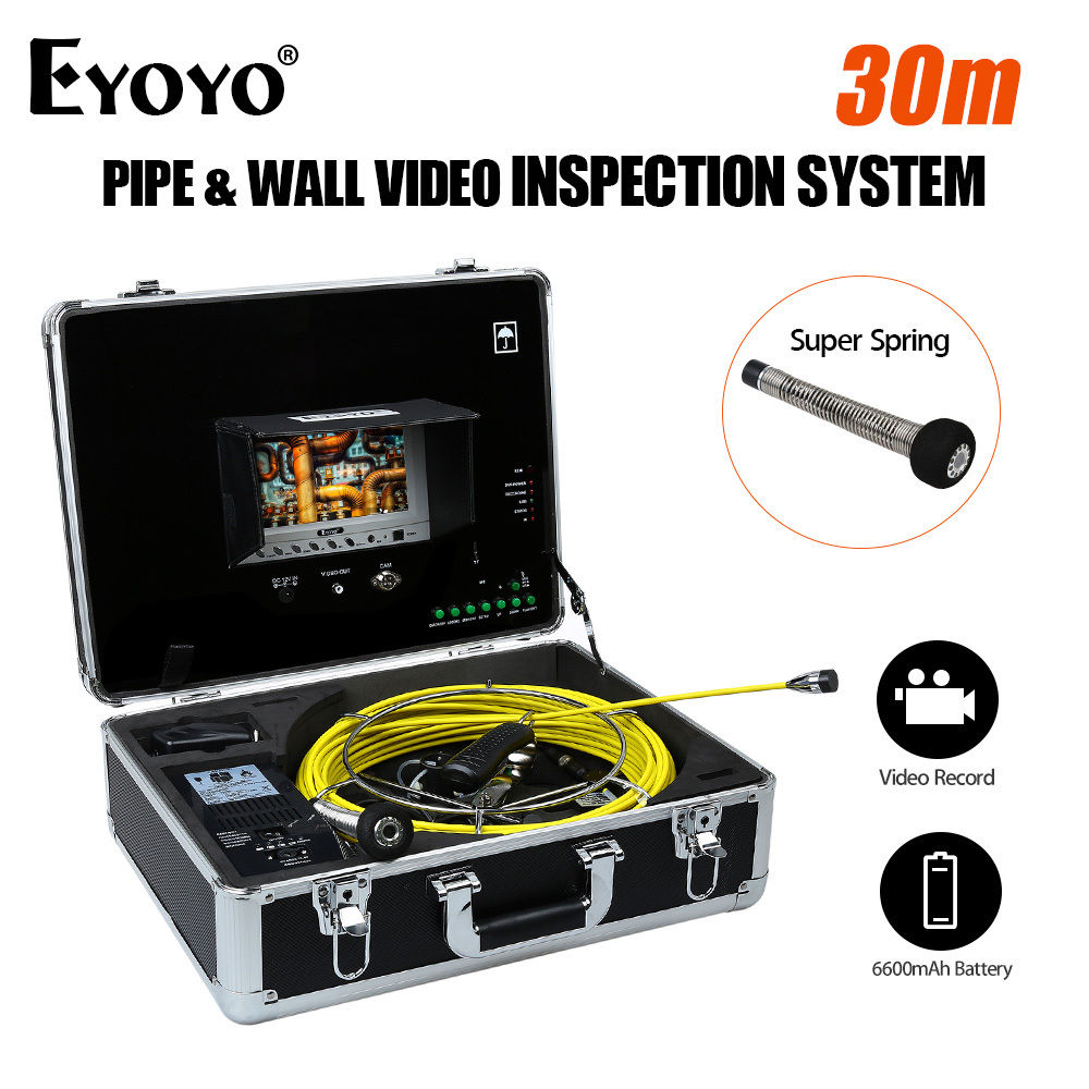 Eyoyo 30M/98ft 7 LCD Monitor Pipe Wall Video Inspection Sewer Drain Camera Pipeline Snake Cam DVR 6600mAh Battery with USB Port drain sewer wall cave pipe inspection dvr camera pipe endoscope borescope 20m 50m cable pipeline sewage snake camera