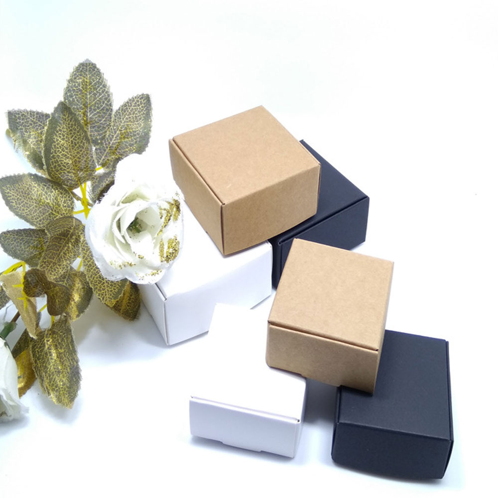 100pcs New DIY Kraft Paper Black white Gift Box For Wedding Favors Birthday Party Candy Cookies Christmas party gift ideas Boxes in Gift Bags Wrapping Supplies from Home Garden
