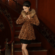 genuine natural rabbit fur coats women with hooded raccoon fur collar trim long leopard color fashion winter plus size jacket