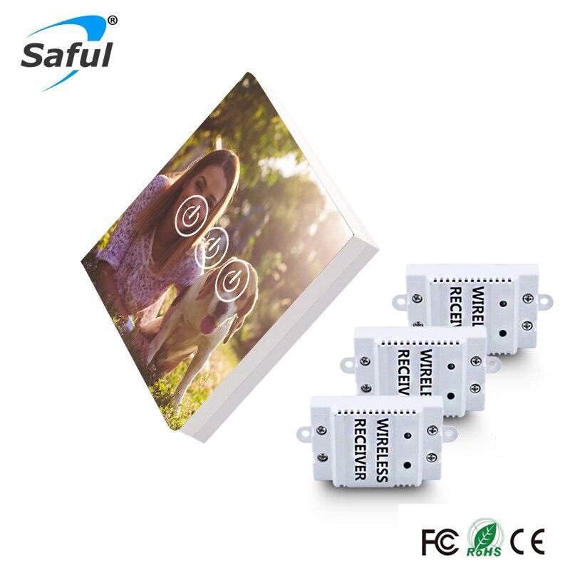 Saful bricolage conception sans fil commutateur tactile 3 Gang 3 voies luxary verre interrupteur longue Distance pour Smart Home mur lumière tactile interrupteur