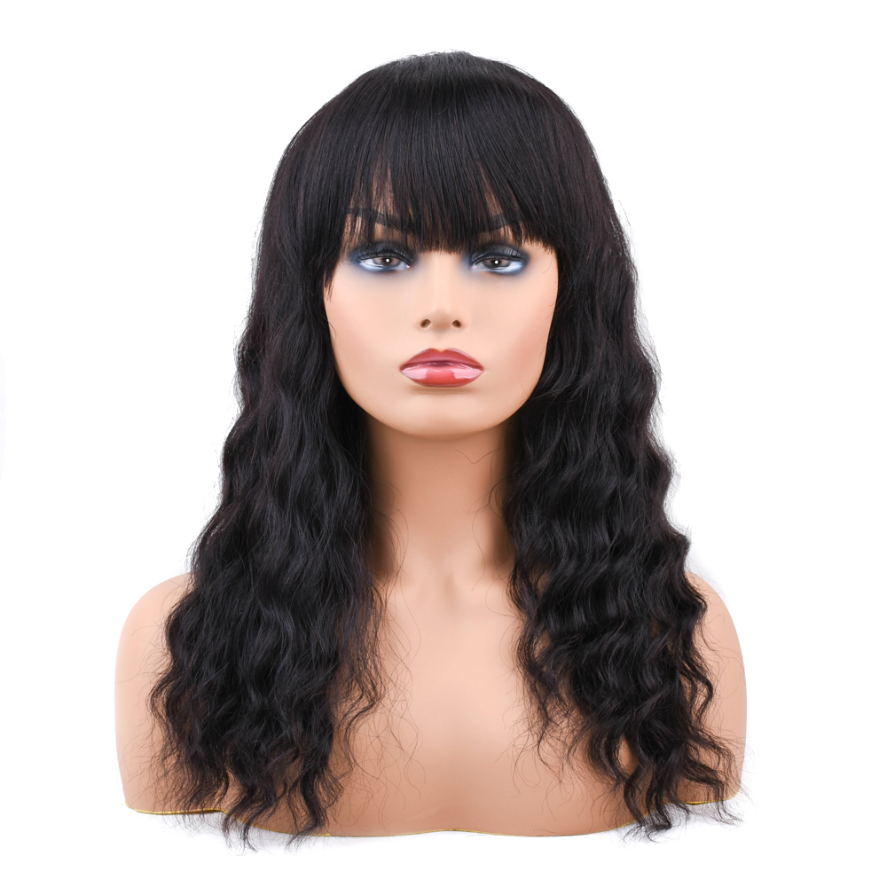 Brazilian Human Hair Wigs with Bang Pre Plucked with Baby Hair Non Remy Deep Wave Wig