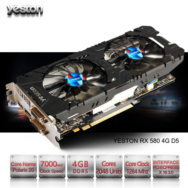 Yeston Radeon RX 580 GPU 4 GB GDDR5 256bit Gaming ordinateur de bureau PC Vidéo cartes graphiques soutien DVI/HDMI PCI-E X16 3.0