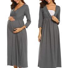 Ночная рубашка для грудного вскармливания с рукавом 3/4, ночная рубашка для кормящих матерей, одежда для сна для беременных