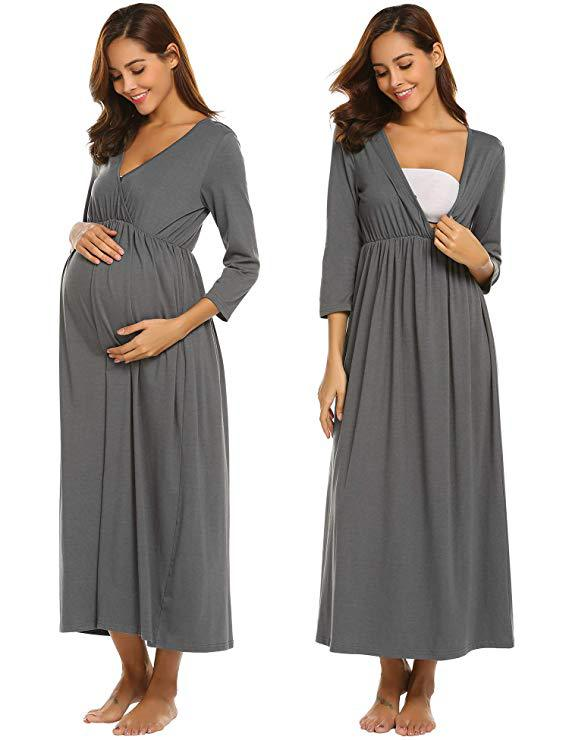 Breastfeeding Nightgown 3/4 Sleeve  Sleep Dress Nursing Nightgown For Hospital Maternidad Maternity Sleepwear