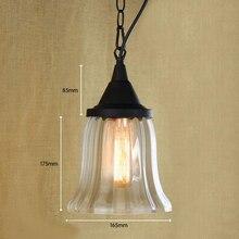 Lámpara colgante de cristal transparente colgante retro reciclado americano con bombilla de luz de Edison luces de cocina y pantalla de lámpara de armario