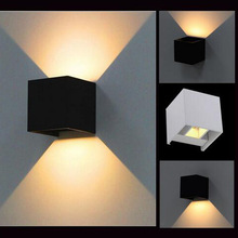 White/Black 7W Led outdoor wall lamp IP65 Surface Mounted Outdoor Led wall light up and down wall light  7w led outdoor ac 85 268v wall lamp decoration indoor cube led wall light aluminum white black up