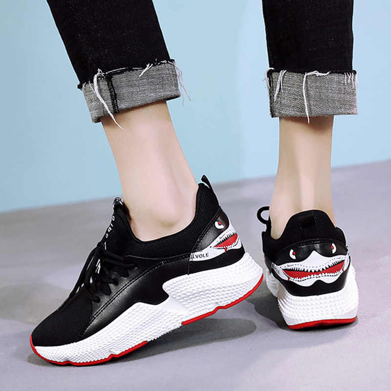 BomKinta Shark Pattern Designer Casual Shoes Woman Walking Tenis Sneakers  Women Ladies Flats Thick Bottom Women 6a870d14725c