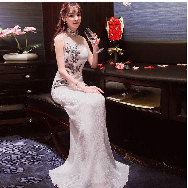 e6fdebe09 traditional chinese clothes for woman white qipao 2017 New Fashion Korean  Long Sexy Cheongsam wedding dress