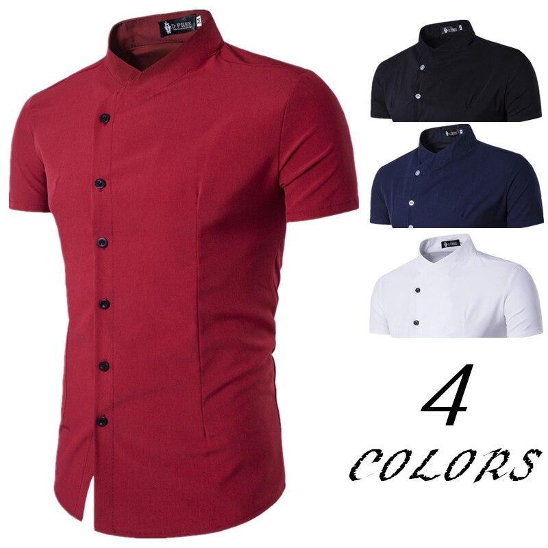 Nowa Marka 2017 Koszule Męskie Asymetria Bawełniana Koszula  07L6U