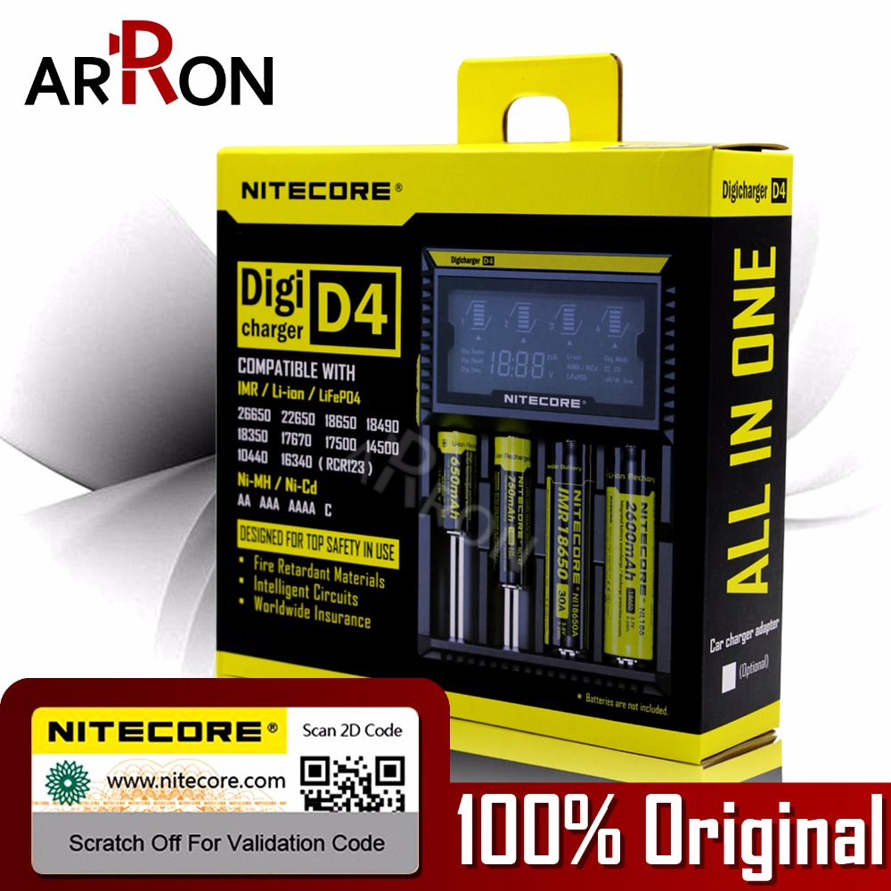 100% Original Nitecore D4 Battery Charger LCD Intelligent Charger Li ion 18650 14500 16340 26650 AAA AA 12V Battery Charger Car|battery charger car|original nitecore d4|nitecore d4 - title=