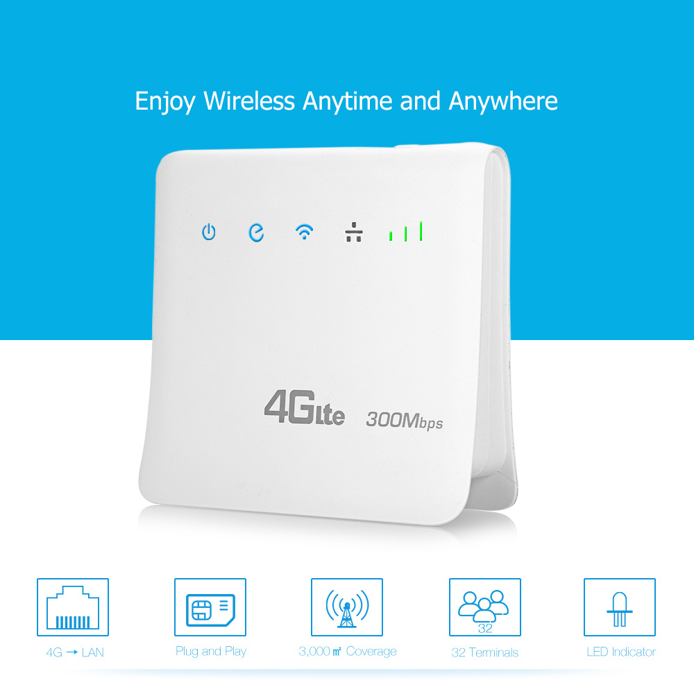 300Mbps 4G LTE Wifi Router Wireless CPE Mobile WiFi with SIM Card Slot up to 32 wifi Users Long wifi Coverage for Home/ Outdoor wifi