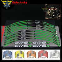 RiderJacky For Kawasaki ER 6N ER6N Motorcycle 12 X Thick Edge Outer Rim Sticker Stripe Wheel Decals