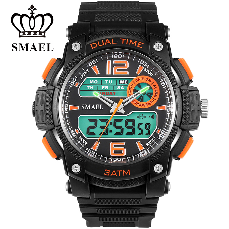 SMAEL Watch Fashion Big Dial Watches LED Waterproof Mens Watches Top Brand luxury Men Wristwatches relojes