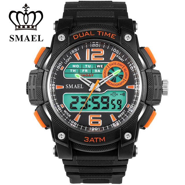 SMAEL Watch Fashion Big Dial Watches LED Waterproof Mens Watches Top Brand luxury Men Wristwatches relojes de hombre  WS1326