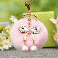Crystal Bowknot Pearl Fur Pompons Keychain Key Chain 8cm Fluffy Fur Rabbit Pompom Keychain Car Key Ring Holder & Porte Clef Gift