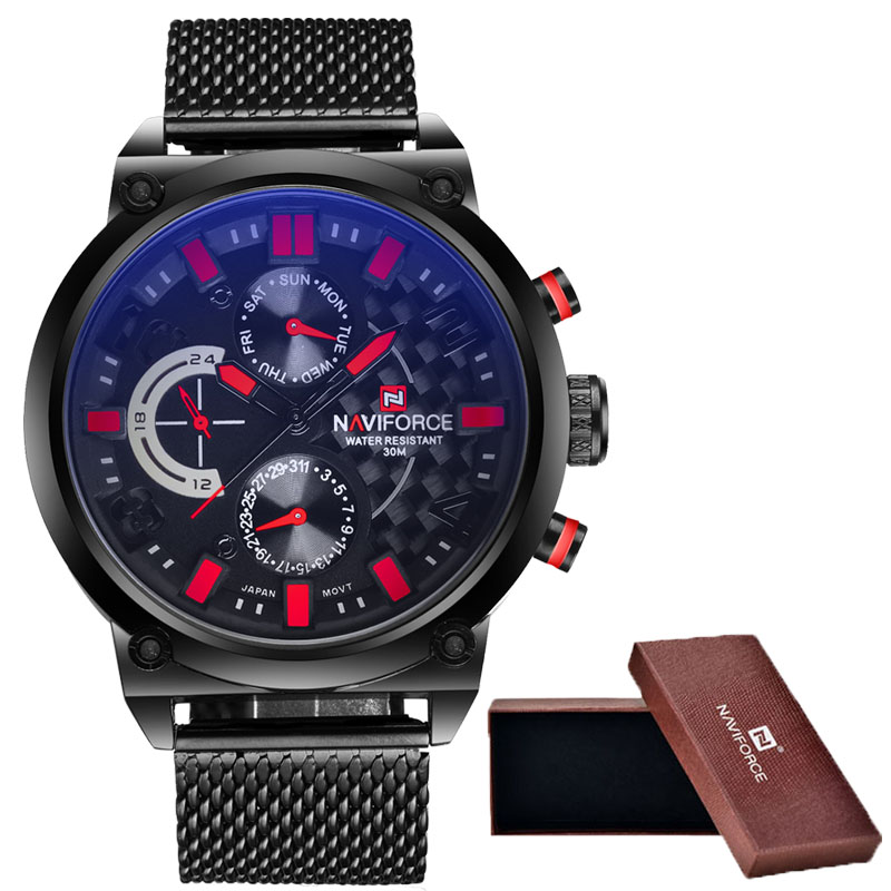 2016 Men's NAVIFORCE Luxury Brand Analog Quartz Watch Man 3ATM Waterproof Fashion Casual Sport Watches Men full steel Wristwatch goblin shark sport watch 3d logo dual movement waterproof full black analog silicone strap fashion men casual wristwatch sh165