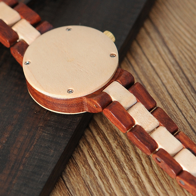 BOBO BIRD M19 Rose Sandal Wood Watch Women Minimal Dress Wristwatch Female Watches Top Brand Luxury 5
