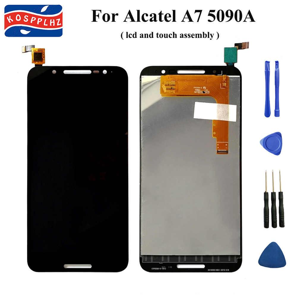 K0SPPLHZ Für Alcatel A7 5090 OT5090 5090i 5090Y 5090A LCD Display Und Touch Screen Digitizer Assembly Ersatz + Werkzeuge & band