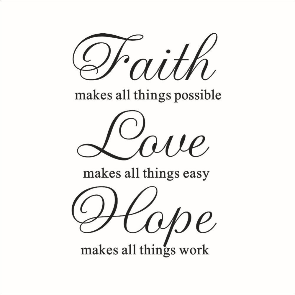 Love Hope Quote: Love Hope Faith Quote Vinyl Wall Art Decal Decor Sticker