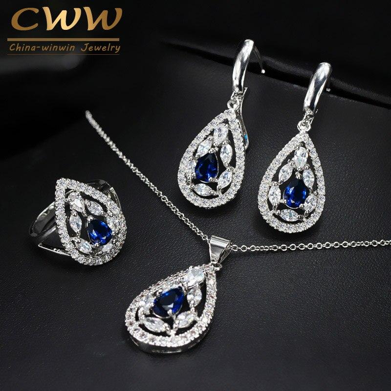 CWWZircons Marca Nueva Moda Dark Blue Crystal Jewelry Set Collar Y Anillo de Pla