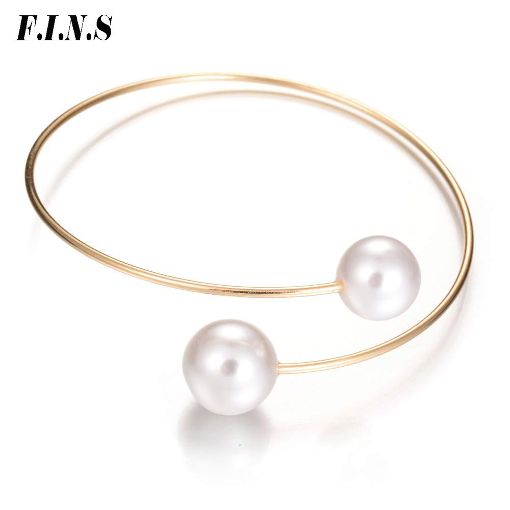 F.I.N.S Gold Color Open Bangles for Women Simulated Pearl Bracelets & Bangles Elegant Charm Bracelets Fashion Jewelry Gifts