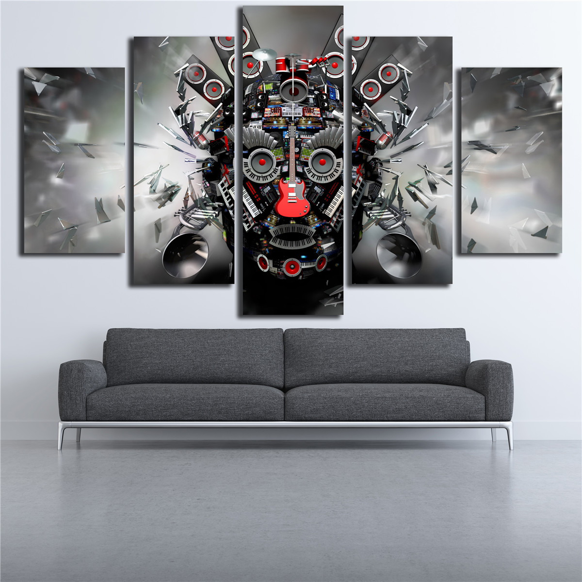 Poster Rock Music instruments DJ Console Guitar Art 5 Panel Wall Painting Home Decor Pop Art Pictures Canvas Painting M625