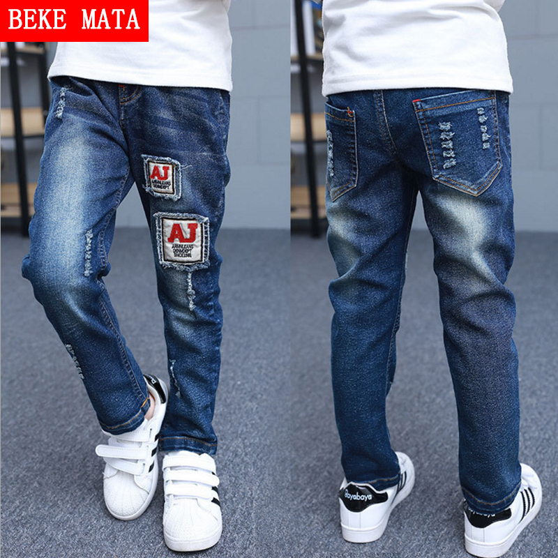 BEKE MATA Children Jeans For font b Boys b font Autumn 2016 Casual Letter Solid Hole