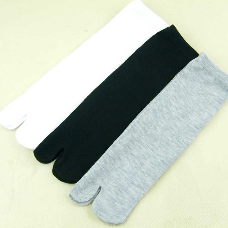 % 2019 bambu elyaf erkekler ve kadınlar yaz Unisex iki parmak çorap japon Sandal bölünmüş ninja ayak çorap siyah beyaz Kimono flop