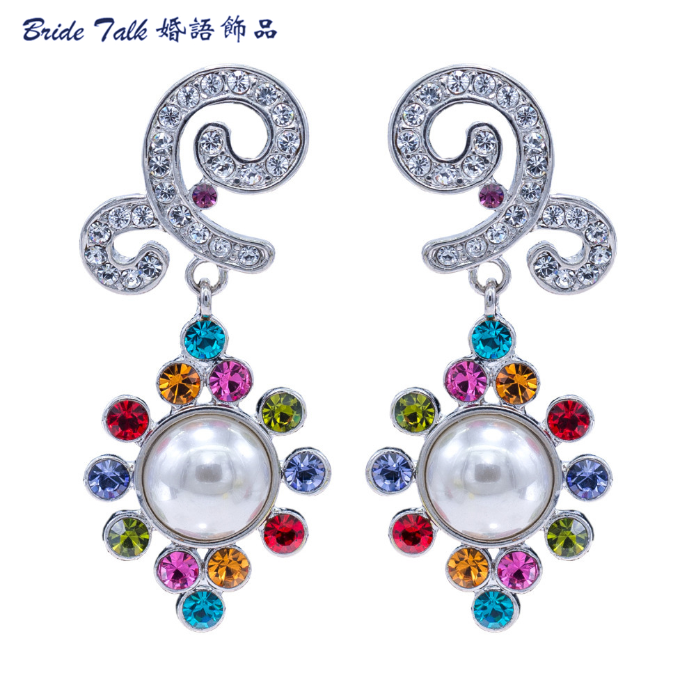 New 2015 Spring Vintage Bridal Earrings Dangle Wedding Pearl Earring For  Women Jewlery Austrian Crystal Free