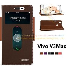 Top Quality Natural Genuine Leather Window Magnet Flip Stand Cover Case For BBK Vivo V3 V3L vivov3 / V3 Max V3MaxA Mobile Phone