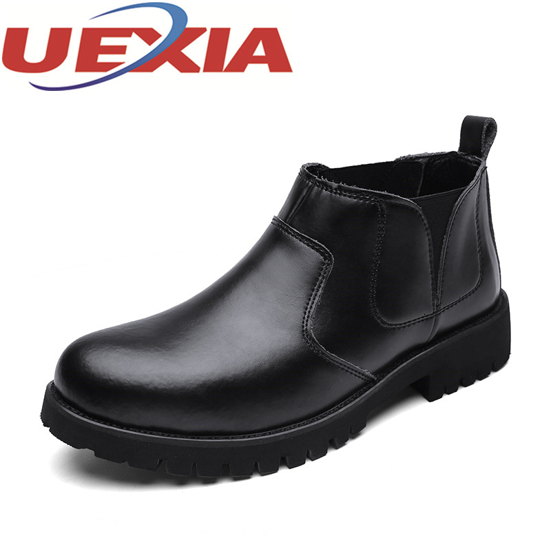 British Style Mens Casual Leather Short Boots Winter Warm Shoes With Fur Outdoor Fashion Men Martin Boots Slip On Work Shoes Men